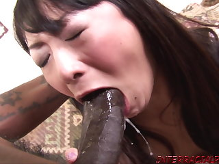 Asian wife hammered by big black cock and swallows