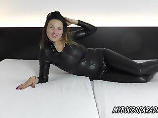 Austrian Talia Amanda New Busty model in Spandex Suit