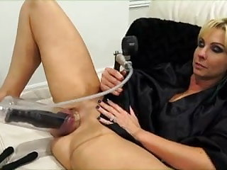 Cum in Mouth Alysha using toys and pumping up her puss...