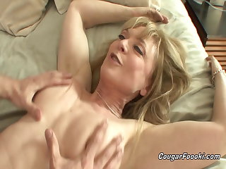 Pissing Sexy aunt Nina Hartley sucks everything out of my young cock
