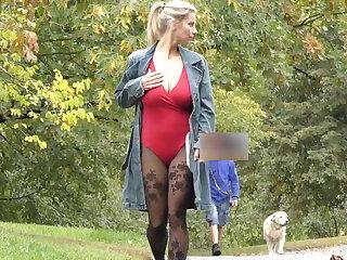 Public Nudity Public masturbate Katerina Hartlova City Park in pantyhose