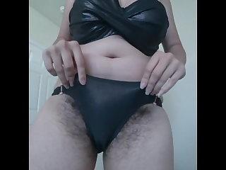 Striptease Showing big hairy bush on cam