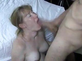 Granny tasting big young cock