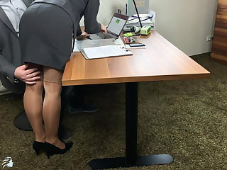 Stockings boss uses secretary and fills all her holes -projectsexdiary