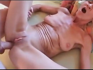 Granny Rita takes pussy & anal fucking before sucking him off.