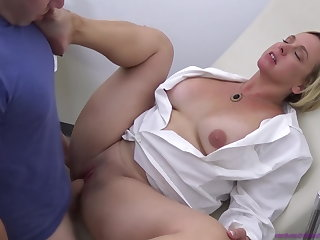Ballbusting Doctor Mom Examines Step Son - Mom Comes First