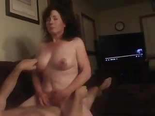 Guy cums early but she keeps riding him to orgasms