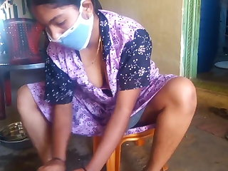 all Tamil hot wife showing her big boobs while cleaning home