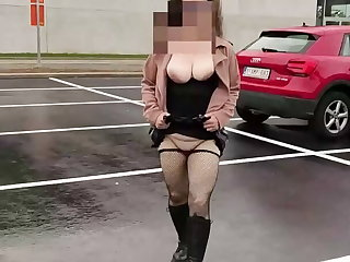 Belgian She shows off with dildo and squirts in public places
