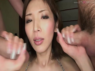 Threesomes Japanese threesome with hot brunette Teacher