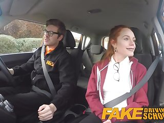 Fake Driving School Redhead Ella Hughes eats instructors cum Ella Hughes